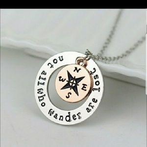 Jewelry - Not all who wander are lost compass rose necklace
